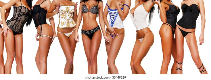 Ten female bodies in corsets, isolated on a white background, please see some of my other parts of a body image