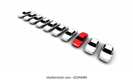 Ten generic cars, one is red