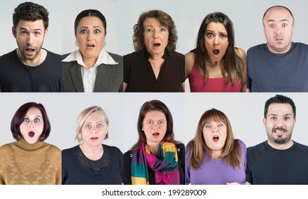 Ten headshots of frightened and horrified people mix