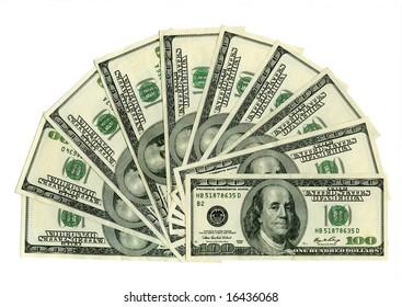ten hundred dollars notes isolated on white