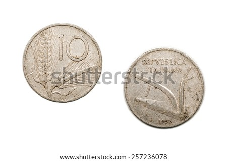 A Ten Lira Coin From Italy Dated 1955 The Lira Was Replaced By The Euro