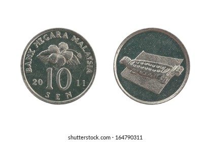 Ten Malaysia cents coin isolated on white background