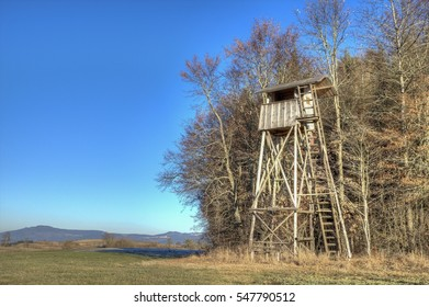 Ten meter high hunting pulpit in Germany, at the sunny forest edge with a view over the whole hunting area up to the hill Klippeneck.