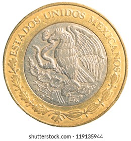 ten mexican peso coin isolated on white background