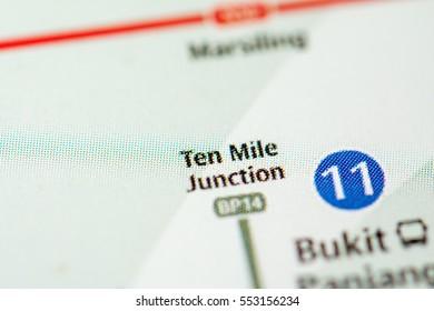 Ten Mile Junction Station. Singapore Metro map.