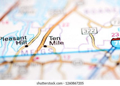 ten mile tennessee map Ten Mile Tennessee Usa On Geography Stock Photo Edit Now 1260867205
