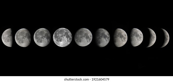 Ten moon phases on the black background