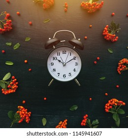 Ten past ten on alarm clock, flat lay top view minimal composition of timepiece placed on dark wooden background with retro floral arrangement