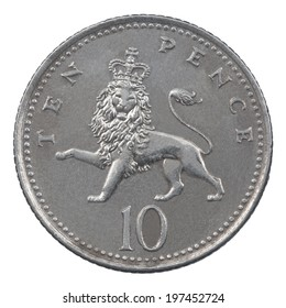 Ten Pence coin isolated over a white background