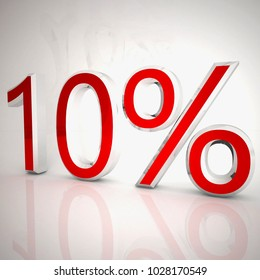 Ten per cent over white reflecting background, 3d rendering