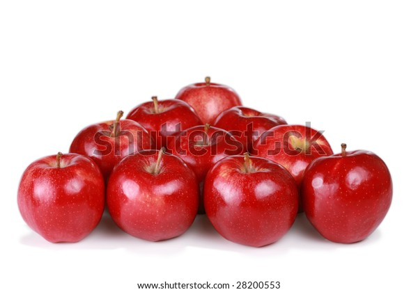 Ten red gala apples in triangle form