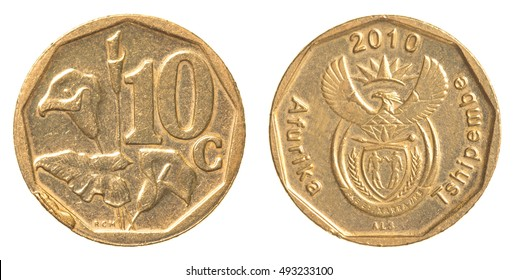 Ten south african cents coin isolated on white background