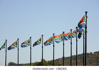 Ten South African flags flying in a moderate breeze.