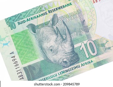 Ten South African Rand, part of a complete banknote