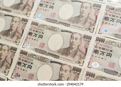 Ten thousands japanese yen lined up