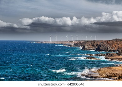 Ten turbines at the Vader Piet wind farm, Aruba