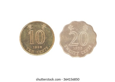 Ten and Twenty  cents hong kong dollar cion isolated on white background