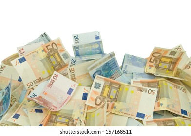 ten twenty and fifty euros bills texture background