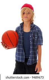 Ten year old boy with basketball isolated on white background