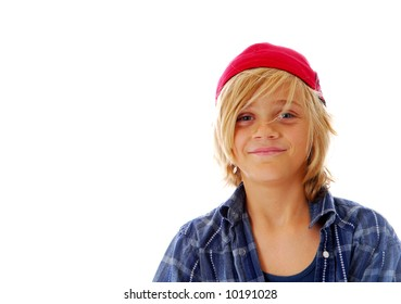Ten year old boy with blond hair isolated on white background