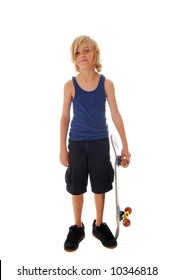 Ten year old boy with skateboard isolated on white background