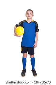 Ten year old boy with a soccer ball isolated on white background.