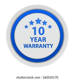 Ten year warranty circular icon on white background