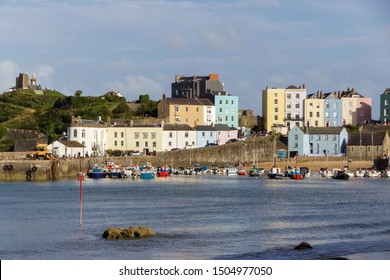 Tenby, Pembrokeshire, Wales - 17 August 2019: View of Colourful Houses in Tenby Harbour