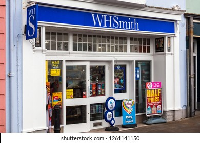 Tenby, Wales, UK, November 4, 2018 : W H Smiths stationary newsagent retail store in the High Street