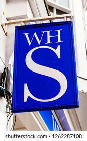 Tenby, Wales, UK, November 4, 2018 : W H Smiths logo advertising sign outside its retail store in the High Street