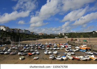 Tenby, Wales, UK, September 13th 2015: The Harbour at Tenby at low tide