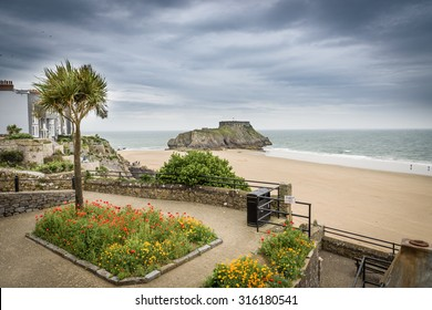 Tenby, Wales. A view across to St Catherine's Island with gardens in the foreground