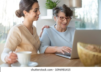 Tender caretaker closing the generation gap and teaching a smiling senior woman the use of Internet on a laptop while sitting by a table in a bright room