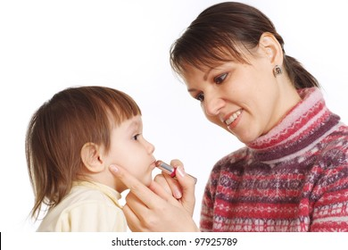 tender portrait of mother with her daughter on the white background