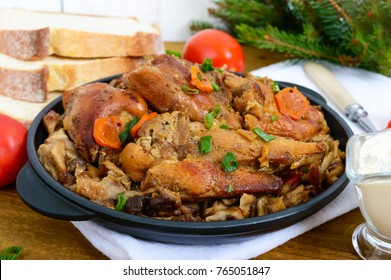 Tender rabbit meat with forest mushrooms. A dietary dish.