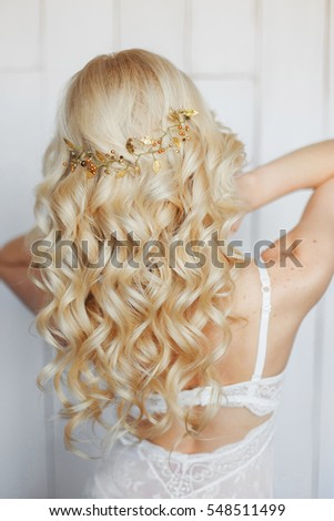 Tender Wedding Hairstyle Messy Hair Long Stock Photo Edit Now