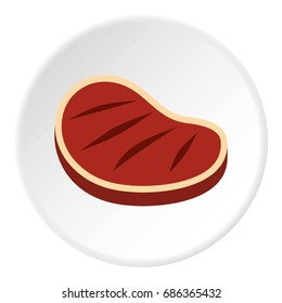 Tenderloin beef steak icon in flat circle isolated  illustration for web