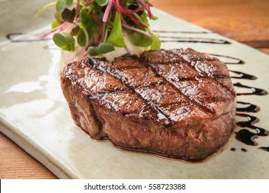 Tenderloin steak on plate