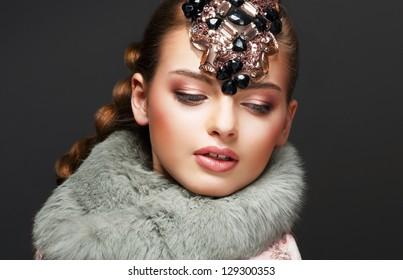 Tenderness. Dreams. Portrait of Romantic Cute Girl. Deluxe