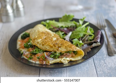 Tenderstem and smoked salmon omelet