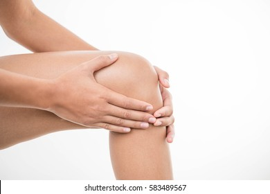 Tendon knee joint problems closeup cropped image woman leg isolated on  white background. Joint trauma concept