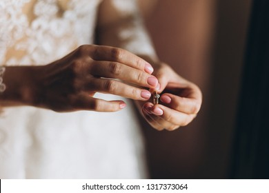 Tendreness bride wearing wedding ring on her finger