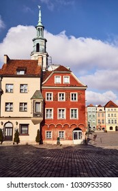 Tenement houses and the town hall tower on the old market square in Poznan