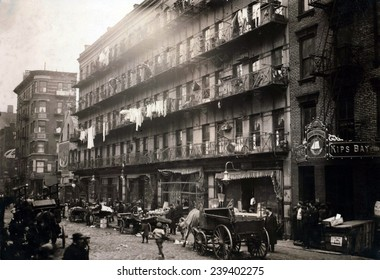 Tenements in New York's crowded immigrant neighborhood on the Lower East Side. 1912.