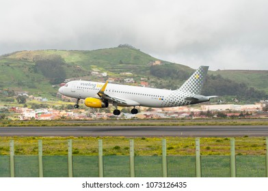 TENERIFE APRIL 2: EC-MFN Vueling Airlines Airbus A320 landing in the Northern Airport of Tenerife, Apr 2, 2018, Tenerife (Canary Islands) Spain.