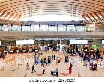 Tenerife, Canary Island, Spain; December 3, 2018: Interior image of Tenerife Norte Airport