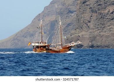 Tenerife, Canary Island, Spain - January 31, 2014. Tourist pleasure yacht, stylized pirate ship near the gorge Maska.