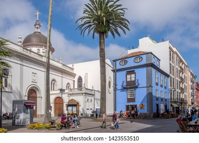 Tenerife, Canary islands - april 22, 2019: Environment in a pedestrian street next to the cathedral of the city of La Laguna