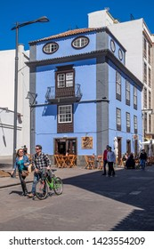Tenerife, Canary islands - april 22, 2019: People walking along a pedestrian street next to the cathedral of the city of La Laguna
