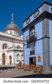 Tenerife, Canary islands - april 22, 2019: Terrace of a cafeteria in La Carrera, a pedestrian street next to the cathedral of the city of La Laguna